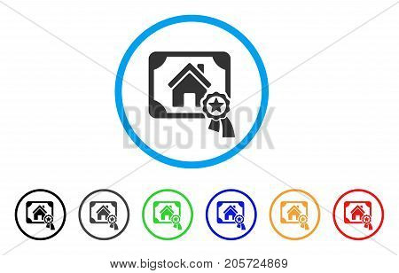 Realty Certification rounded icon. Style is a flat realty certification grey symbol inside light blue circle with black, gray, green, blue, red, orange color versions.