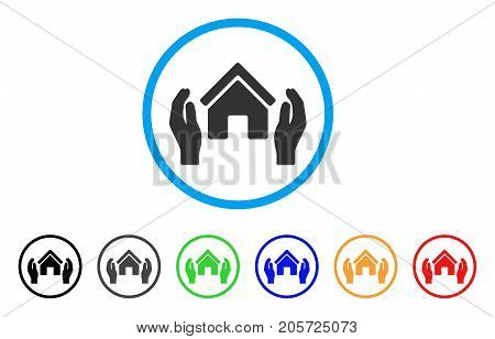 Realty Insurance Hands rounded icon. Style is a flat realty insurance hands gray symbol inside light blue circle with black, gray, green, blue, red, orange versions.