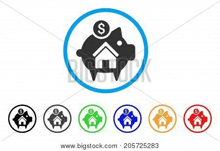 Realty Piggy Bank rounded icon. Style is a flat realty piggy bank gray symbol inside light blue circle with black, gray, green, blue, red, orange color versions.