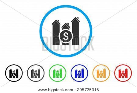 Realty Price Charts rounded icon. Style is a flat realty price charts gray symbol inside light blue circle with black, gray, green, blue, red, orange variants.
