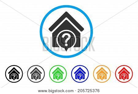Realty State rounded icon. Style is a flat realty state grey symbol inside light blue circle with black, gray, green, blue, red, orange versions. Vector designed for web and software interfaces.