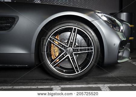 Sankt-Petersburg, Russia, September 11, 2017 : Mercedes-Benz GT-C exterior details, test drive on September 11 2017 in Russia, Sankt-Petersburg.
