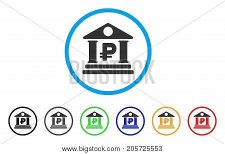 Rouble Bank Building rounded icon. Style is a flat rouble bank building grey symbol inside light blue circle with black, gray, green, blue, red, orange color versions.