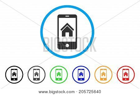 Smartphone Homepage rounded icon. Style is a flat smartphone homepage gray symbol inside light blue circle with black, gray, green, blue, red, orange versions.