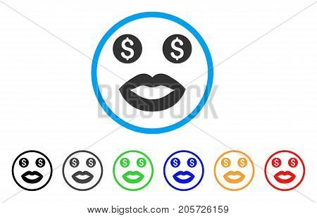 Prostitute Smile rounded icon. Style is a flat prostitute smile gray symbol inside light blue circle with black, gray, green, blue, red, orange versions.