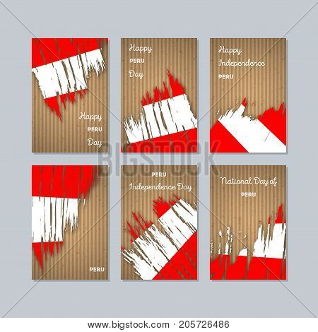 Peru Patriotic Cards For National Day. Expressive Brush Stroke In National Flag Colors On Kraft Pape