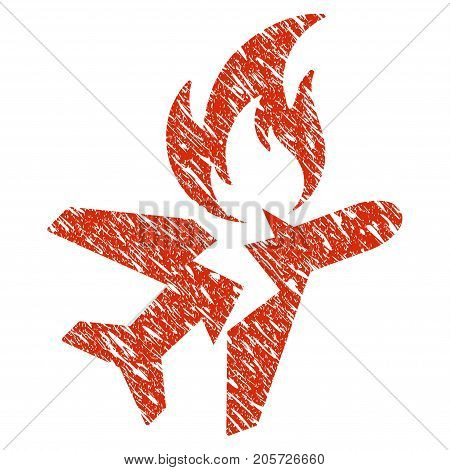 Grunge Airplane Fire Crash rubber seal stamp watermark. Icon airplane fire crash symbol with grunge design and dust texture. Unclean vector red emblem.