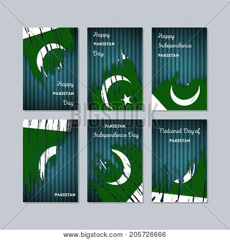 Pakistan Patriotic Cards For National Day. Expressive Brush Stroke In National Flag Colors On Dark S