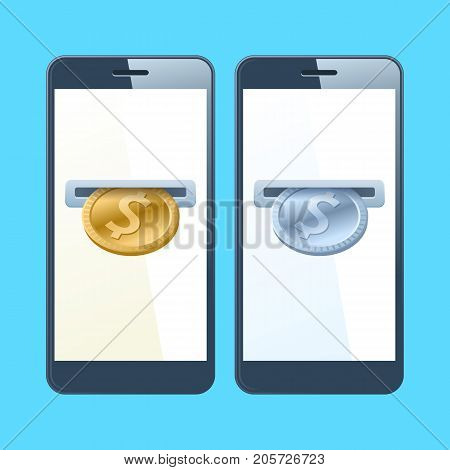 Two mobile phones and dollars. A coin slotes with gold and silver dollars are inserting at the screen. Money, banking, online payment, buying, cash concept. Vector flat material design illustration.