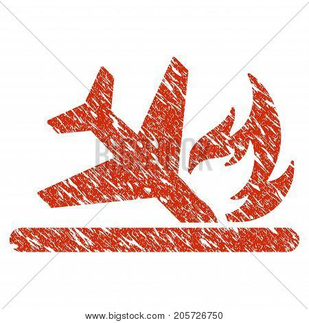 Grunge Airplane Landing Crash rubber seal stamp watermark. Icon airplane landing crash symbol with grunge design and dust texture. Unclean vector red emblem.