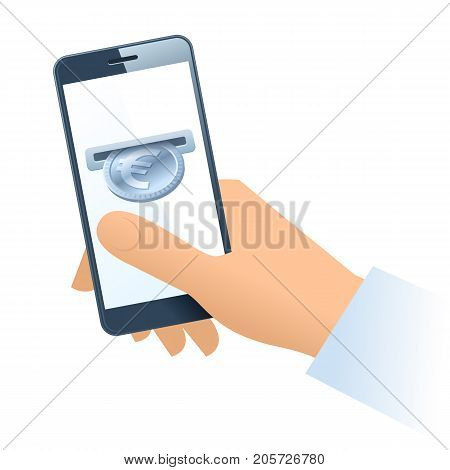 A human hand holding a mobile phone. A coin slot with silver euro is inserting at the screen. Money, banking, online payment, buying, cash concept. Vector flat illustration of hand, phone, euro.