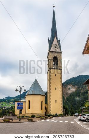 SELVA DI CADORE,ITALY - SEPTEMBER 14,2017 - View at the Parish church of Selva di Cadore in Dolomites. The Dolomites are a mountain range located in northeastern Italy.