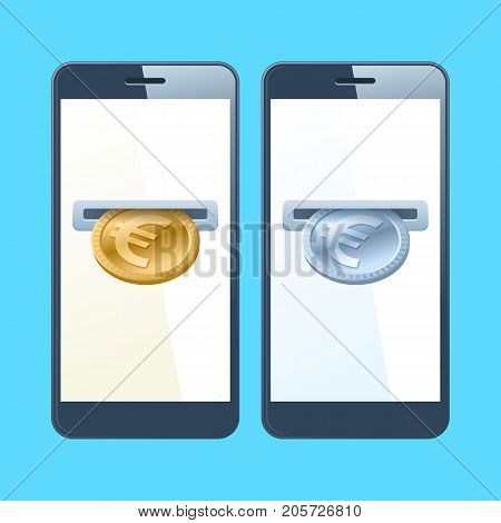 Two mobile phones and euros. A coin slotes with gold and silver euros are inserting at the screen. Money, banking, online payment, buying, cash concept. Vector flat material design illustration.
