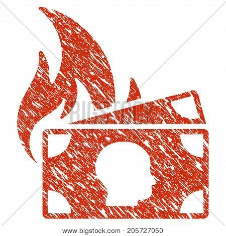Grunge Banknotes Fire Disaster rubber seal stamp watermark. Icon banknotes fire disaster symbol with grunge design and dirty texture. Unclean vector red emblem.
