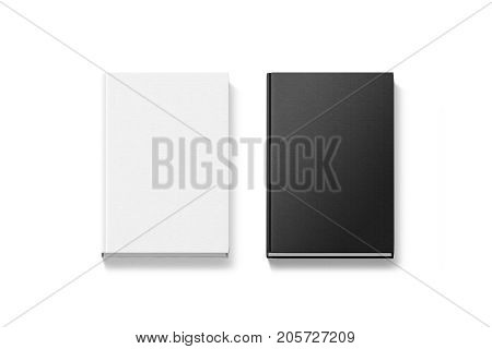 Blank black and white hardcover books mock ups top view 3d rendering. Empty notebook cover mockups isolated. Bookstore branding template. Plain textured textile textbooks from above.