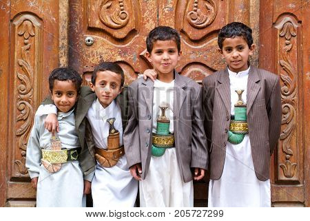 Boys With Traditional Clothes At Sana On Yemen