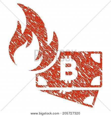 Grunge Bitcoin Cash Fire rubber seal stamp watermark. Icon bitcoin cash fire symbol with grunge design and unclean texture. Unclean vector red sign.