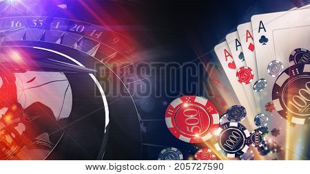 Conceptual Online Casino Gambling Illustration. 3D Rendered Image. Blackjack Cards Casino Chips and Roulette Wheel.
