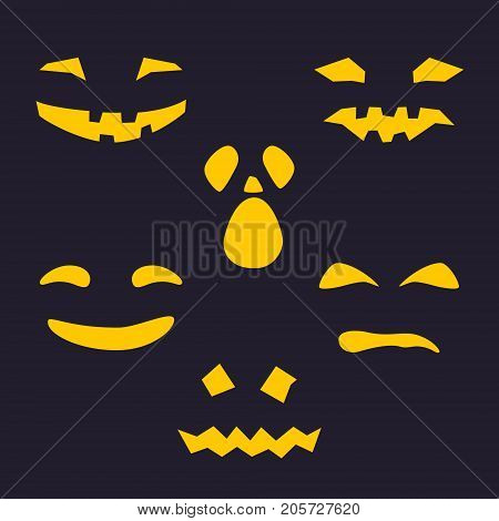 Halloween Holiday, Set of Terrible Smiles with Eyes, Yellow Silhouette of Scary Smug Face for Pumpkin on Dark Background, Vector Illustration