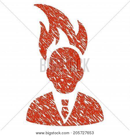 Grunge Burn Businessman Head rubber seal stamp watermark. Icon burn businessman head symbol with grunge design and dirty texture. Unclean vector red sticker.