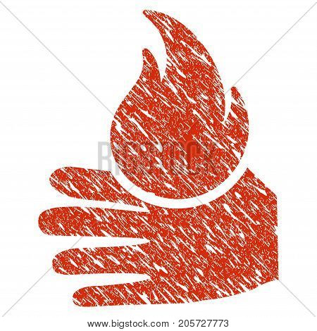 Grunge Burn Hand rubber seal stamp watermark. Icon burn hand symbol with grunge design and unclean texture. Unclean vector red emblem.