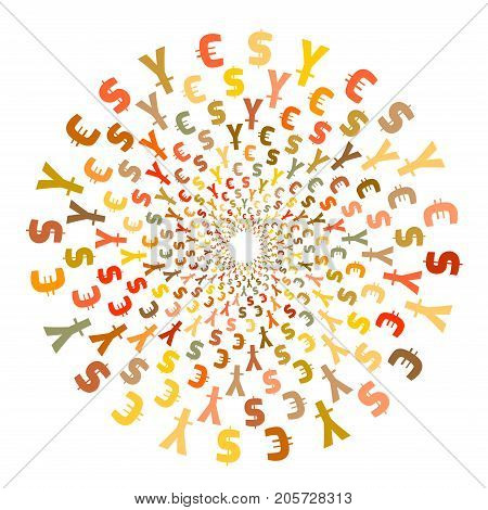 World Currency Symbols. Background Pattern. Isolated Currency Symbols In A Circle. On White.