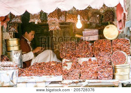 Man Selling Dates On The Market Of Old Sana