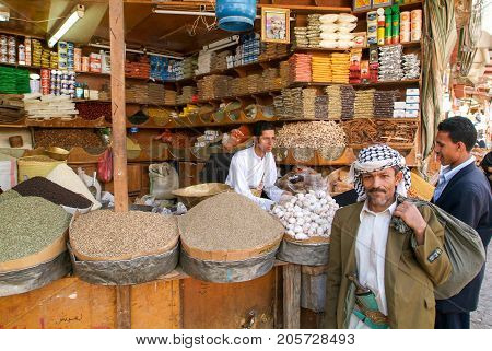 People Selling Spices On The Market Of Sana