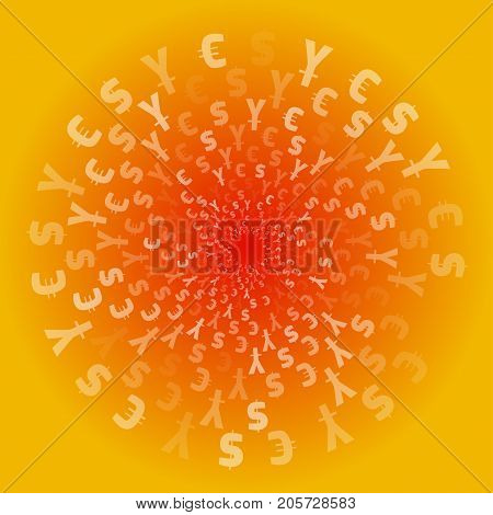 World Currency Symbols. Background Pattern. Isolated Currency Symbols In A Circle