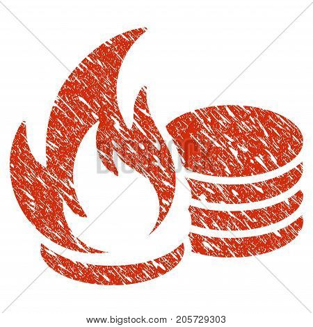 Grunge Coins Fire Disaster rubber seal stamp watermark. Icon coins fire disaster symbol with grunge design and unclean texture. Unclean vector red sticker.