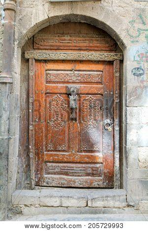 Sana,Yemen - 5 January 2007: Old wodden door at Sana on Yemen