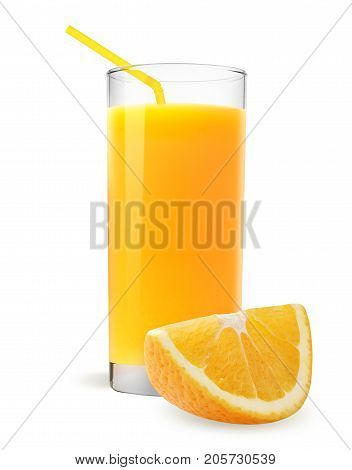 Isolated orange juice. Slices of orange fruit and glass of orange juice isolated on white.