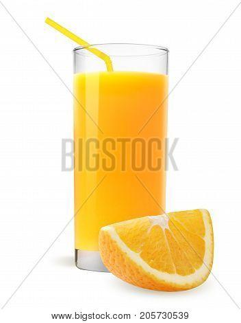 Isolated orange juice. Slices of orange fruit and glass of orange juice isolated on white.