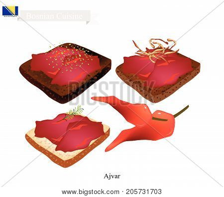 Bosnian Cuisine, Illustration of Ajvar or Traditional Spread Sauce Made of Red Bell Peppers, Eggplant and Garlic. One of The Most Famous Dish in Bosnia and Herzegovina.