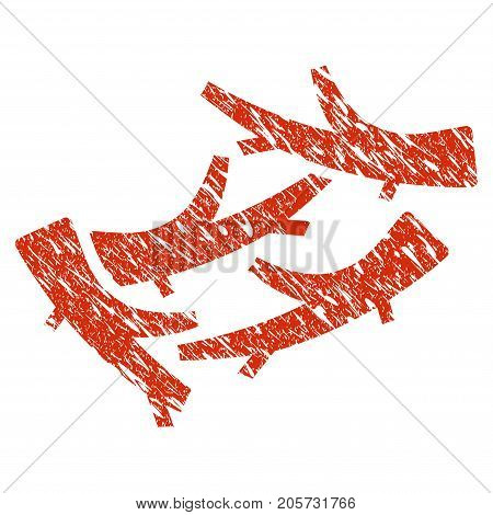 Grunge Firewood rubber seal stamp watermark. Icon firewood symbol with grunge design and dirty texture. Unclean vector red sticker.