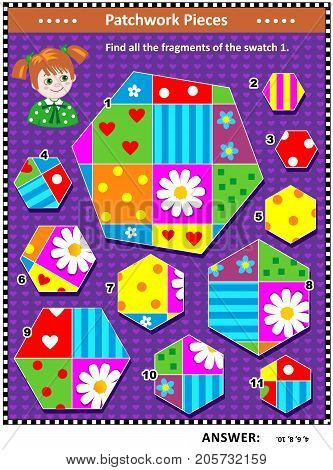 Quilting or patchwork themed IQ training visual puzzle (suitable both for kids and adults): Find all the fragments of the picture 1. Answer included.