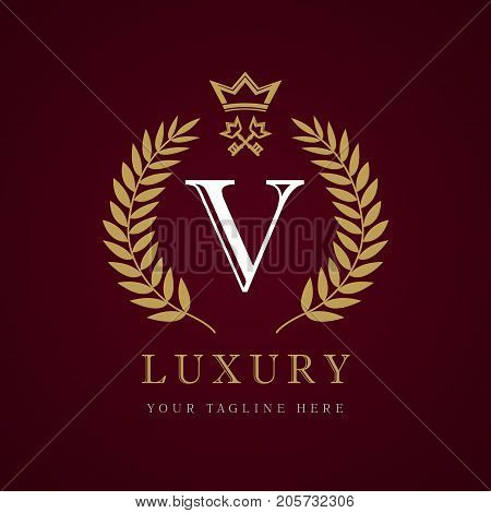 Luxury calligraphic letter V crown key monogram logo. Laurel elegant beautiful identity with crown and key. Vector letter emblem V for Royalty, Property, Restaurant, Boutique, Hotel, Heraldic, Jewelry