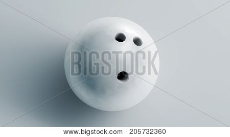 Blank white bowling ball mock up top view 3d rendering. Empty bowl game sphere mockup isolated. Clear leisure sport equipment design template. Plain shiny orb with 3 holes for recreation activity.