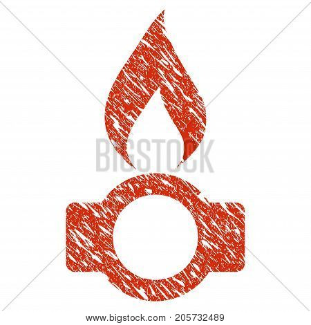 Grunge Gas Flame rubber seal stamp watermark. Icon gas flame symbol with grunge design and scratched texture. Unclean vector red sticker.