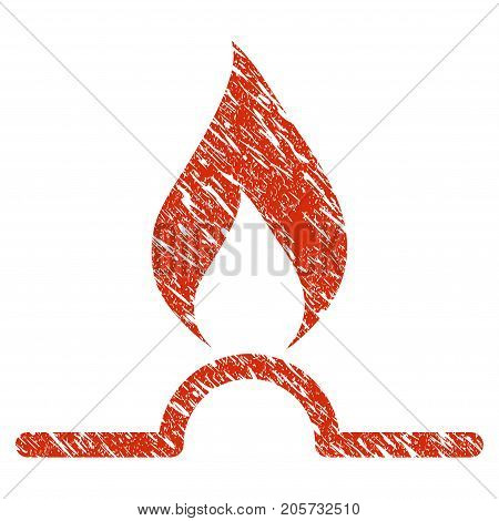 Grunge Gas Flame rubber seal stamp watermark. Icon gas flame symbol with grunge design and unclean texture. Unclean vector red sticker.