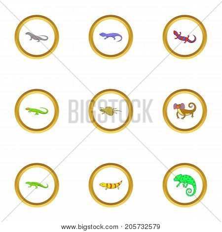 Color lizard icons set. Cartoon style set of 9 color lizard vector icons for web design