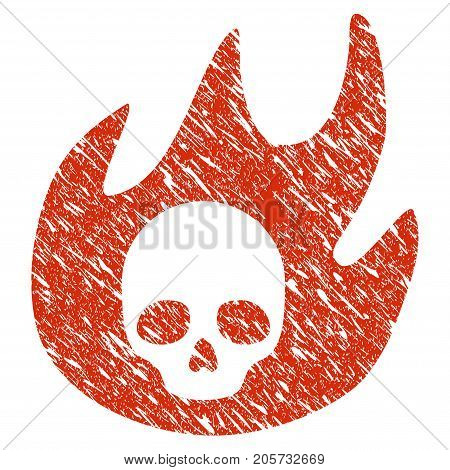 Grunge Hell Fire rubber seal stamp watermark. Icon hell fire symbol with grunge design and unclean texture. Unclean vector red sign.