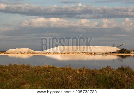 Landscape of salt marsh in Aigues-Mortes, France