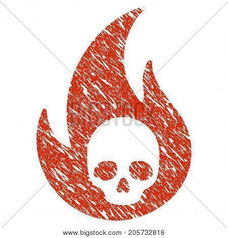 Grunge Hell Fire rubber seal stamp watermark. Icon hell fire symbol with grunge design and unclean texture. Unclean vector red emblem.