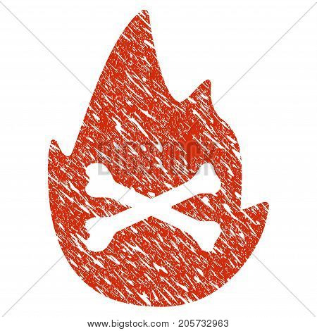 Grunge Hellfire Flame rubber seal stamp watermark. Icon hellfire flame symbol with grunge design and dust texture. Unclean vector red sticker.