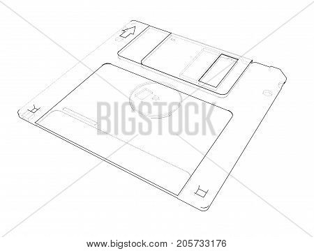 Floppy disk storage sketch. Vector rendering of 3d. Wire-frame style. The layers of visible and invisible lines are separated