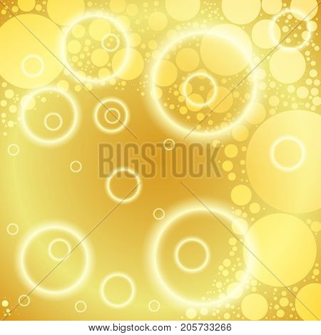 Light golden abstract background with glow rings and luminous circles. Glowing romantic texture for your design