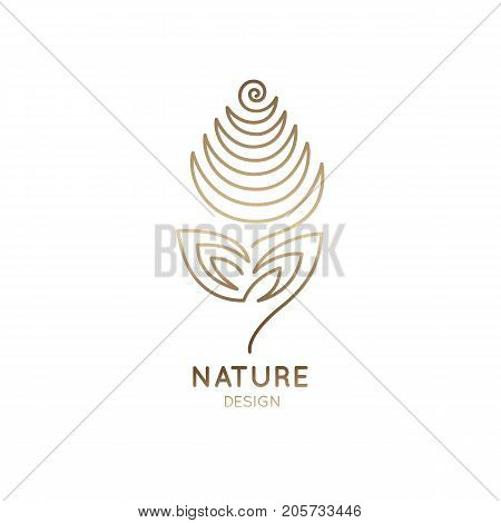 Vector logo of floral element. Abstract flower outline icon. Linear emblem for design of natural products, flower shop, cosmetics and ecology concepts, health, spa and yoga, holistic medicine Center.