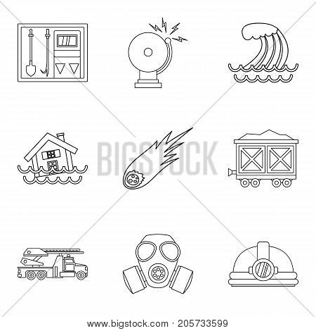 Natural disaster icons set. Outline set of 9 natural disaster vector icons for web isolated on white background