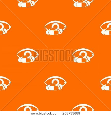 Treatment of the eye pattern repeat seamless in orange color for any design. Vector geometric illustration